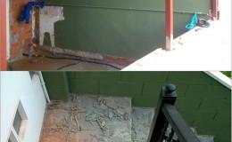 2 Vaciamos las escaleras y  colocamos una estructura metálica sobre muros para soportar el aumento.