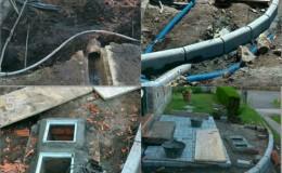 2 Sustitución del tubo de fecales por tubería de PVC, protección de instalaciones y comienzo del adoquinado