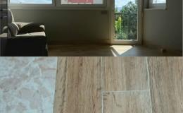 3  Local ya rematado y detalle de encuentro del nuevo pavimento rectangular imitación madera con el antiguo en cocina.