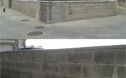 1 Estado anterior del muro, desde fuera y desde dentro.
