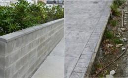 2 Estado anterior del muro (desviado y con un rejunte deficiente) y las jardineras.
