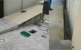 3 Estado anterior de la rampa. Problemas con las arquetas, remates del hormigón y la colocación de piedra.