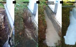 2 Excavación y aplicación de mortero hidrófugo.