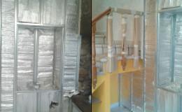 4 Colocación de lámina térmica y mortero técnico en escaleras