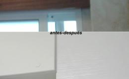 Comparación antes-después en detalles de encuentro con caja de persiana.