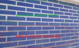 16 Comparación de estilos de rejuntado entre el actual y el propuesto por nosotros para mayor durabilidad del hidrofugado de muros.