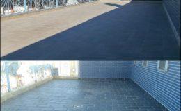 19 Antes y después de una de las terrazas de tamaño medio.
