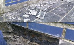 8 Inicio de demolición para encastrado por detrás del plano de escorrentía de la lámina impermeabilizante.