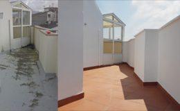 19 Comparación antes-después en la terraza pequeña
