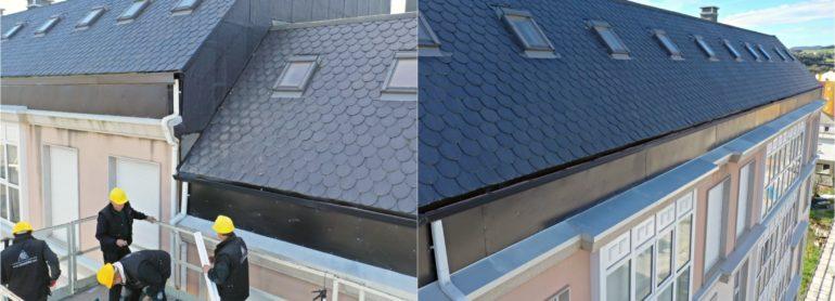 Más de 300 m2 de aluminio para solucionar las de filtraciones en 130 ml de fachada.